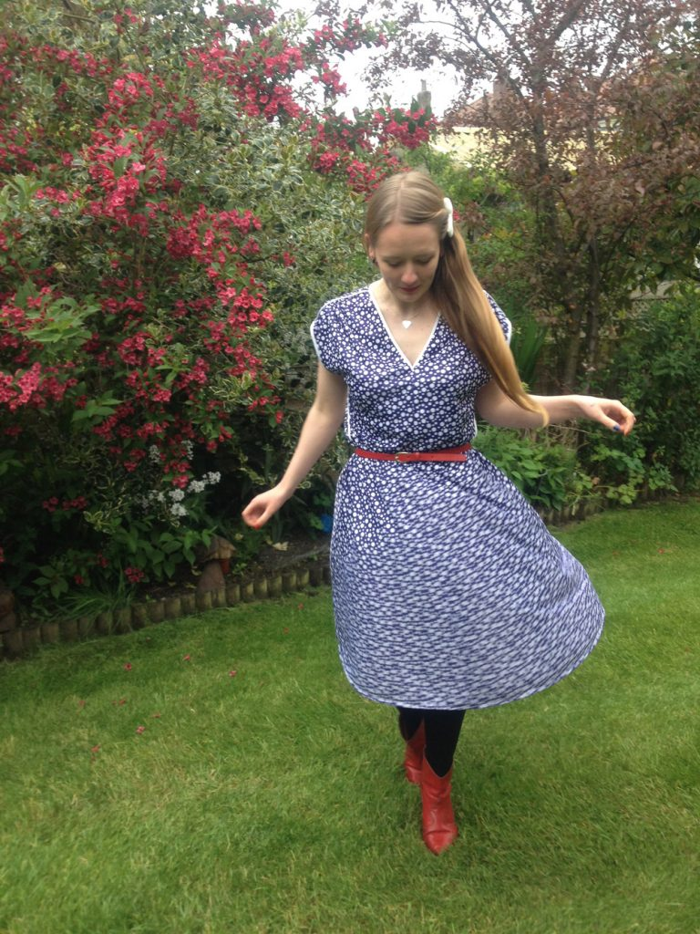 80s does 50s polkadot vintage dress